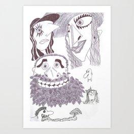 A Grotesque Sextet In Ink Art Print