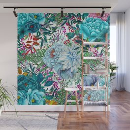 Teal Floral Collage Wall Mural