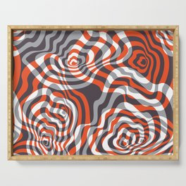 Warped distorted rectangles. Bright 3D op art. Serving Tray