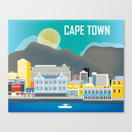Cape Town, South Africa - Skyline Illustration by Loose Petals Canvas Print