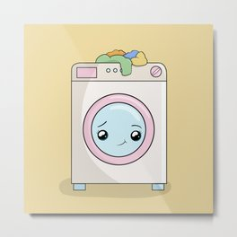Kawaii Washing machine Metal Print