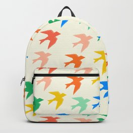 Mod Art Birds Red blue Green, Yellow, Red Pattern Backpack