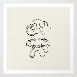 Abstract line english bulldog Art Print