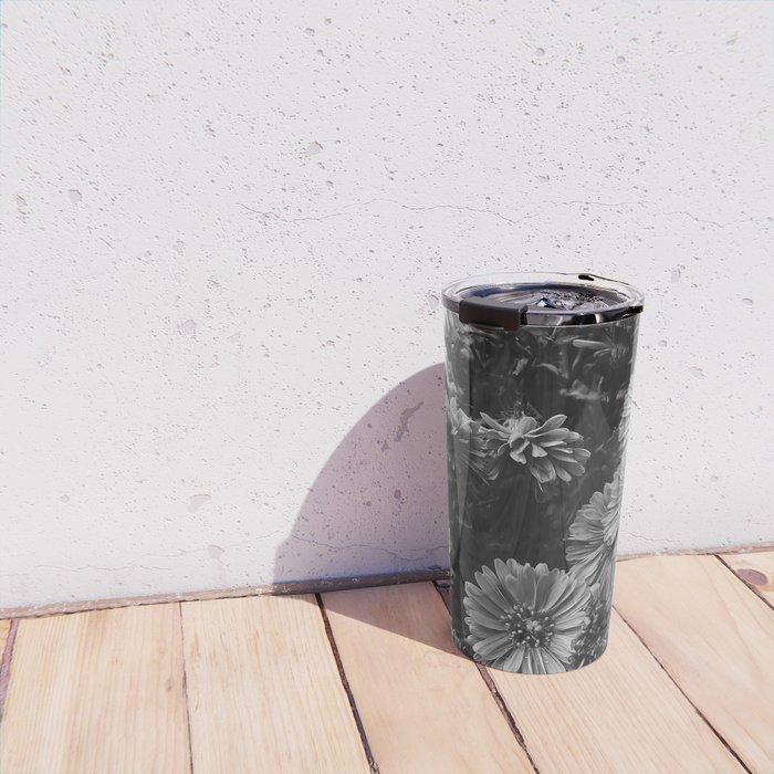 FLOWERS - FLORAL - BLACK AND WHITE Travel Mug