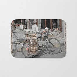 Fresh Eggs by Bicycle in Nepal Bath Mat