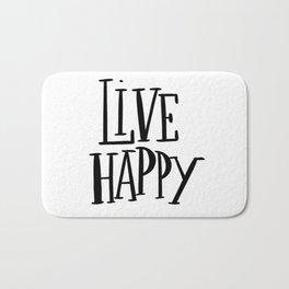 Live Happy: white Bath Mat