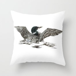 Morning Stretch - Common Loon Throw Pillow