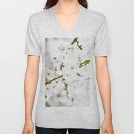 White blooming Unisex V-Neck