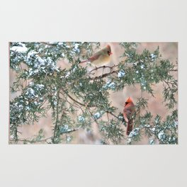 Winter Pair Cardinals (sq) Rug