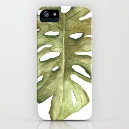 Monstera Leaf Brown Green iPhone Case