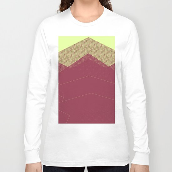 Autumn Red Burgundy Mountain Abstract Long Sleeve T-shirt