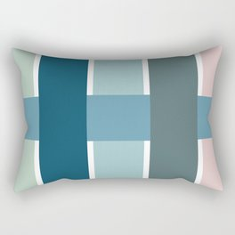 Basket Weave in Blue, Green, and Pink Rectangular Pillow