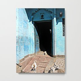 Indian Streets. Blue House and Dogs Metal Print