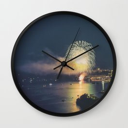 Panoramic lovely view of fireworks on the Principality of Monaco shortly after sunset Wall Clock