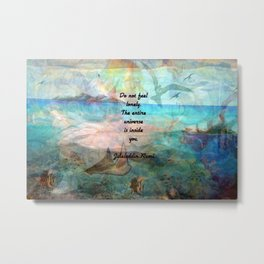 Rumi Inspiration Quote About The Universe With Beautiful Ocean Art Metal Print
