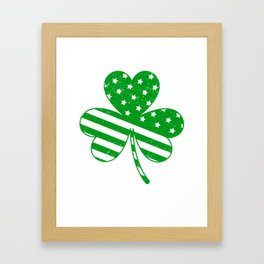 Irish American Flag Vintage Shamrock design Saint Patrick D Framed Art Print