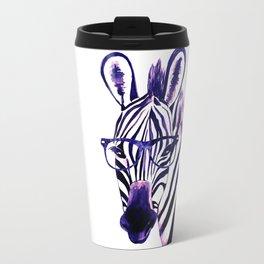 Zebra with glasses, purple Travel Mug