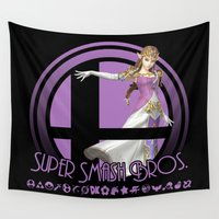 super smash bros Wall Tapestries featuring Zelda - Super Smash Bros. by Donkey Inferno