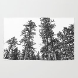 Snowscape Sky // Winter Trees Black and White Landscape Snow Ski Snowboard Photography Rug