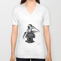 steve mcqueen V-neck T-shirts featuring McQueen by BrittanyJanet Illustration & Photography