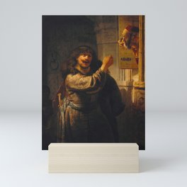 Rembrandt - Samson threatening his father-in-law (1635) Mini Art Print