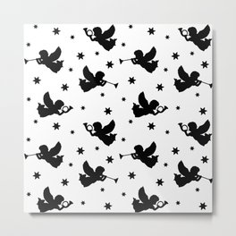 Christmas pattern with silhouettes of angels, trumpets and stars Metal Print