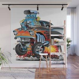Classic hotrod 57 gasser drag racing muscle car cartoon Wall Mural