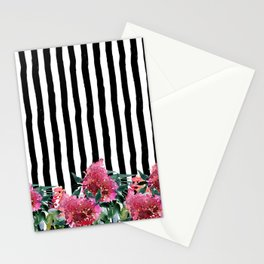 Black white brushstrokes pink watercolor floral stripes Stationery Cards