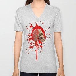 WHITE RED EXPLODING BLOODY SKULL HALLOWEEN  ART Unisex V-Neck