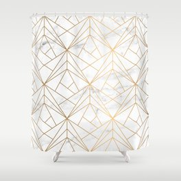 Marble, Geometry and Gold Shower Curtain