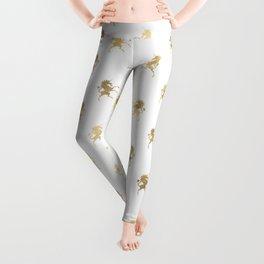 Gold Unicorn Pattern Leggings