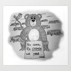 Sad bear 2 Art Print