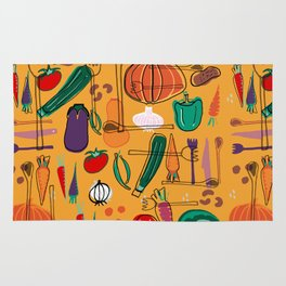 fall veggies yellow Rug