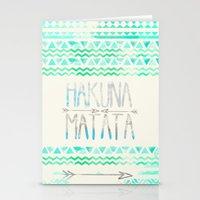 hakuna Stationery Cards featuring Hakuna Matata by Sara Eshak