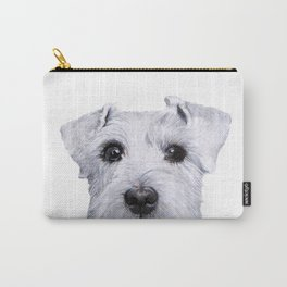 Schnauzer White Dog original painting print Carry-All Pouch