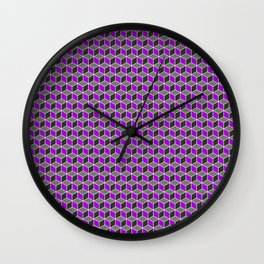 Purple Grey Cube Pattern Wall Clock
