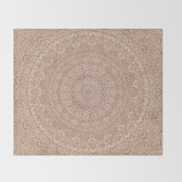 The Most Detailed Intricate Mandala (Brown Tan) Maze Zentangle Hand Drawn Popular Trending Throw Blanket