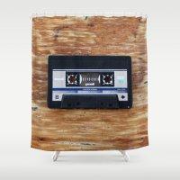 cassette Shower Curtains featuring Cassette by Coconut Living