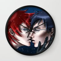 kuroshitsuji Wall Clocks featuring A Kiss in the Snow by Falln
