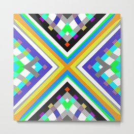 Retro Color Study Structured Neo Tribal Modern Lines Metal Print