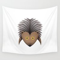 hedgehog Wall Tapestries featuring hedgehog by Daniele Nannini