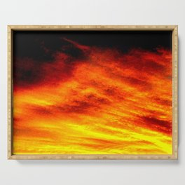 Black Yellow Red Sunset Serving Tray