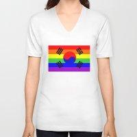 korea V-neck T-shirts featuring south korea gay flag by tony tudor