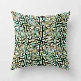 grid in brown and green with shapes Throw Pillow