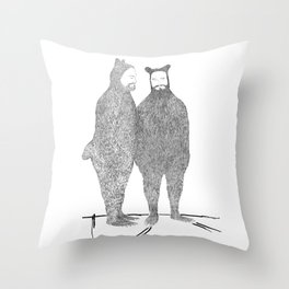 Two Bears Get Married Throw Pillow