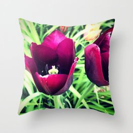 Purple Tulips in Bloom Throw Pillow