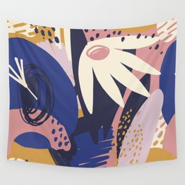 Bold Beautiful Graphic Floral Tropical Pik Blue Plant Pattern Colorful Color Block Style Floral King Wall Tapestry