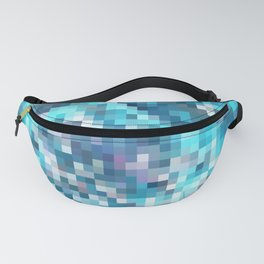 geometric square pixel pattern abstract in blue Fanny Pack