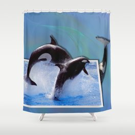 Leaping Orcas Shower Curtain