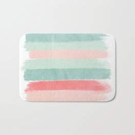 Stripes painted coral minimal mint teal bright southern charleston decor colors Bath Mat